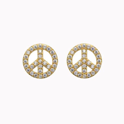 Brinco Paz e Amor - Folheado ouro 18k