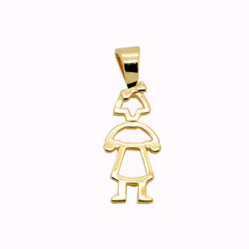 Pingente Menina Vazada - Folheado ouro 18k