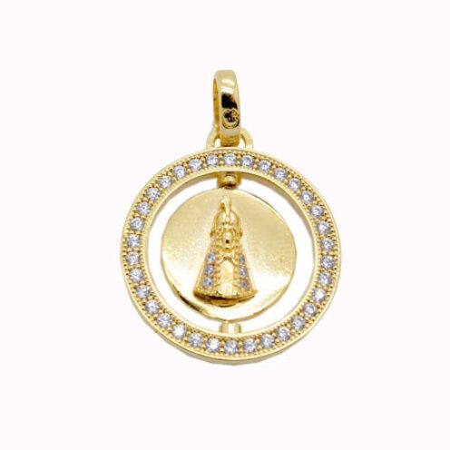 Pingente Nossa Senhora Giratória - Folheado ouro 18k