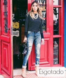 Calça Jeans com Sobretinto Skinny Destroyed Cós Alto Degrant
