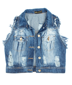 Colete Jeans Médio Destroyed Degrant