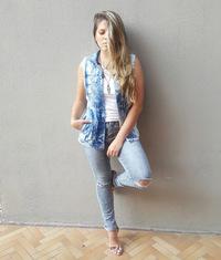 Colete Jeans Comprido Destroyed Degrant