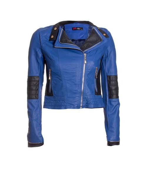 Jaqueta PU Bicolor Azul