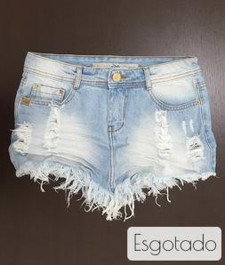 Saia de Bico Desfiada 3D Jeans Delavê Degrant