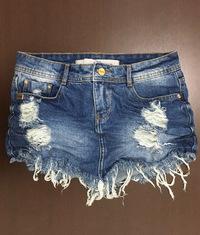 Saia de Bico Desfiada 3D Jeans Escuro Degrant