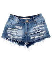 Shorts Saia Detonada Jeans Médio Degrant