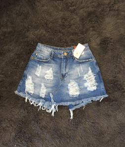 Shorts Saia Detonada Jeans Cós Alto Degrant