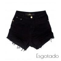 Shorts 3D Preto Desfiado Cós Alto Degrant