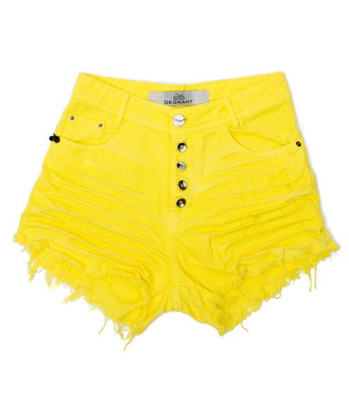 Shorts 3D Amarelo Desfiado Cós Alto Degrant com botões
