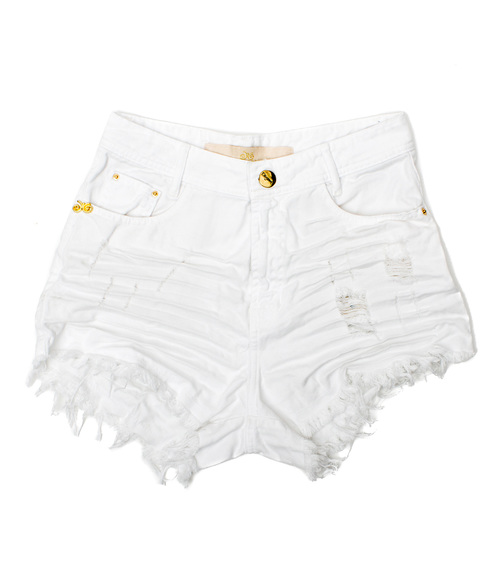 Shorts 3D Branco Desfiado Cós Alto Degrant