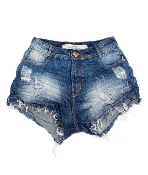 Shorts Jeans 3D Médio Escuro Detonado Cós Alto Degrant