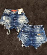 Shorts 3D Detonado Jeans Clean Sky Hot Pants Degrant