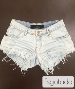 Shorts 3D Jeans Delavê Bordado Desfiado Degrant