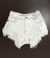 Shorts 3D Jeans Off Desfiado Cós Alto Degrant