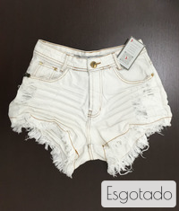 Shorts 3D Jeans Off Desfiado Cós Alto Degrant