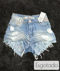 Shorts 3D Jeans Delavê Desfiado Cós Alto Degrant