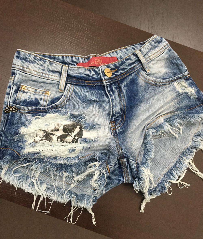 1f729b7e9 Shorts 3D Jeans Detonado Patche Caveira Degrant