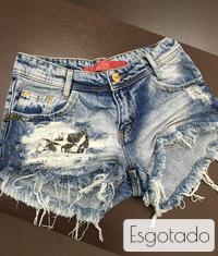Shorts 3D Jeans Detonado Patche Caveira Degrant
