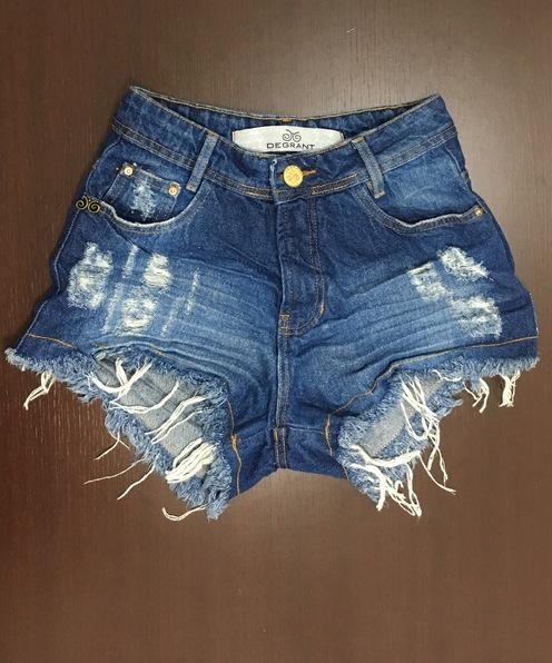 Shorts 3D Jeans Médio Escuro Cós Alto Degrant