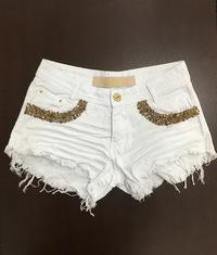 Shorts 3D Desfiado Branco Bolso Bordado Degrant