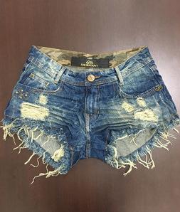 Shorts 3D Jeans Escuro Bolso Virado Camuflado Degrant
