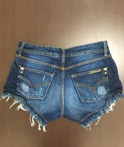 Shorts 3D Jeans Escuro Desfiado Degrant
