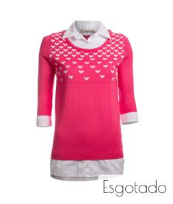 Tricô Corações com Falsa Camisa Rosa Blessed Store