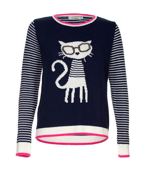 Blusa Tricot Studio 21 Gato Óculos