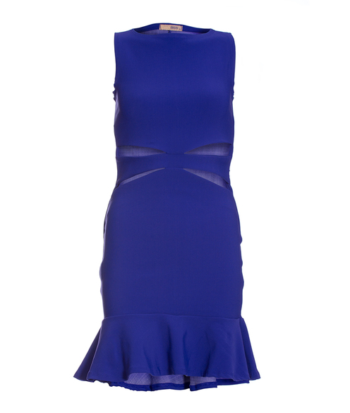 Vestido Siss Cut Frente Azul Liso