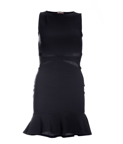 Vestido Siss Cut Frente Preto Liso