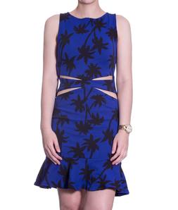 Vestido Siss Cut Frente Coqueiro Azul