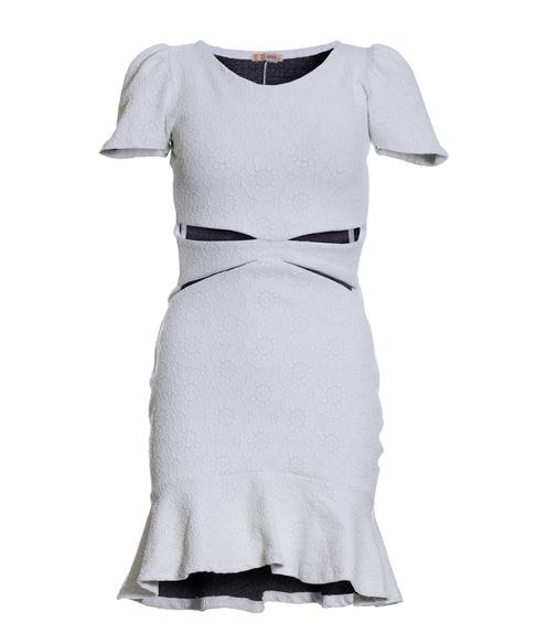 Vestido Siss Cut Frente Ombro Princesa Branco